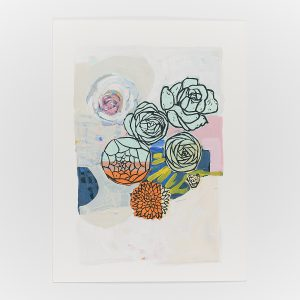 linoleum print and acrylic painting on paper by Gabriela Ibarra