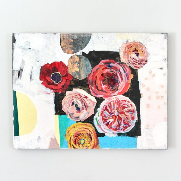 Collage and acrylic painting of flowers on canvas by Gabriela Ibarra