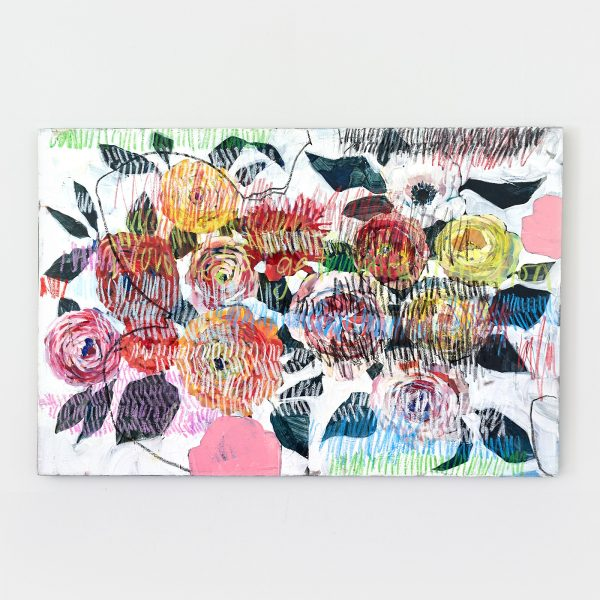 painterly floral art in acrylic and oil pastel on canvas by Gabriela Ibarra