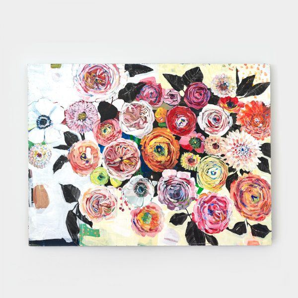 painterly floral art in acrylic on canvas by Gabriela Ibarra
